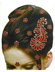 DollsofIndia Golden And Red Color Stone Studded Stick-on Hair Decoration (Can Be Used On Other Parts Of The Body...