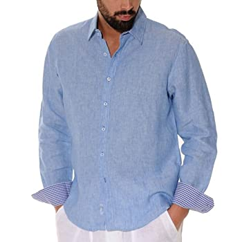 Lined Long Sleeve blue Linen Shirt