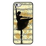 SSCase design Vintage Ballet Sketch music Silhouette Painting Illustration Ballerina Soft Plastic Protected Case for iPhone 5/5s/SE - Black