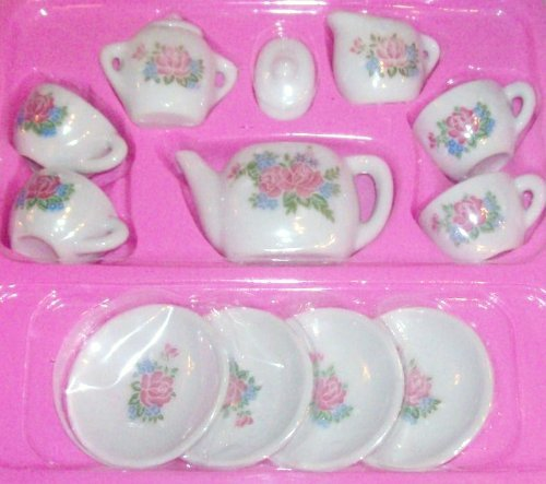 Rhode Island Novelty Toy Porcelain Tea Set, 13-Piece - 1