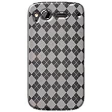 Amzer AMZ91276 Luxe Argyle High Gloss TPU Soft Gel Skin Case for HTC Desire S (Clear)