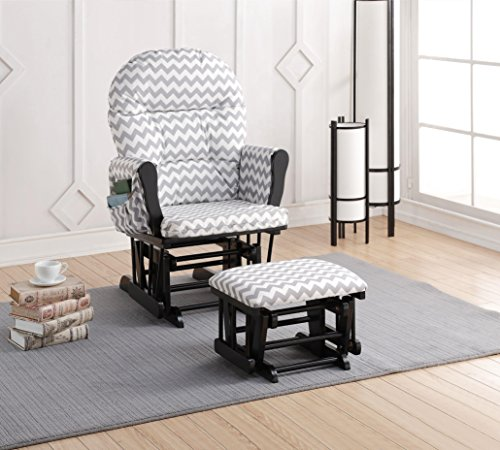 Naomi Home Brisbane Glider & Ottoman Set with Cushion in Gray Chevron and Finish in Black - 1