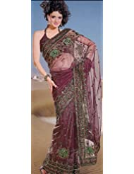 Exotic India Cordovan Net Sari With Parsi Embroidered Bootis And Bord - Cordovan