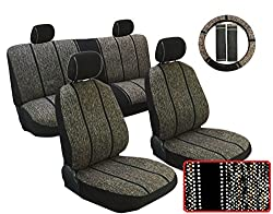 See 13 Piece Premium Black Saddle Blanket Weaved Design Seat Cover Set for Ford Cars, Includes 2 Front Bucket Seats - Rear Bench Headrest - Steering Wheel Cover - Shoulder Pads Details