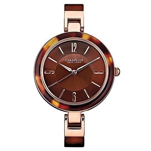 Caravelle New York 44L137 - Reloj Analógico de Cuarzo para Mujer, correa de Otros materiales color Marrón