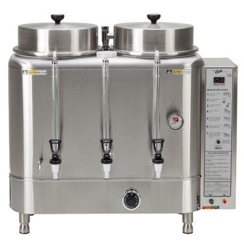 Wilbur Curtis Automatic Coffee Urn 6.0 Gallon Twin Coffee Brewer, 3Ph 3W+G 208/220V 27.6A 10,500W - Commercial-Grade Automatic Coffee Brewer - RU-600-20 (Each)