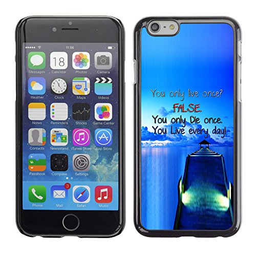 Qstar Colorful Printed Hard Protective Back Case Cover Shell Skin for Apple (5.5 inches !!!) iPhone 6 Plus ( Dock False Blue Live Die Ship Sea Ocean)