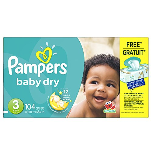 Pampers Diapers, Size 3 (16-28 lb), Sesame Street 104 diapers