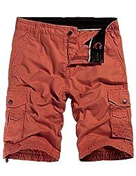 WenVen Men\'s Cotton Twill Cargo Short Outdoor Wear Lightweight(No.4 Brick red,34)