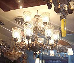 S M Arcade Grand 12 Lights Antique Finish Chandelier (SM-72-12/DA)