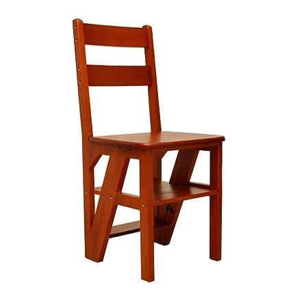sgabello scale Sgabello pieghevole in legno massello a doppio uso / Sedia a quattro gradini coperta / Sgabello multifunzione a pioli / pino Sgabello mobile 40 * 37 * 90CM sgabello scale ( Colore : A )