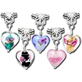 Housweety 20PC Mixed Glass Heart Dangle Beads Fit Charm Bracelets