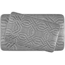 Bounce Comfort Chain Ring Extra Thick Premium Memory Foam Bath Mat Set of 2 with BounceComfort Technology, 20 x 32 Light Grey