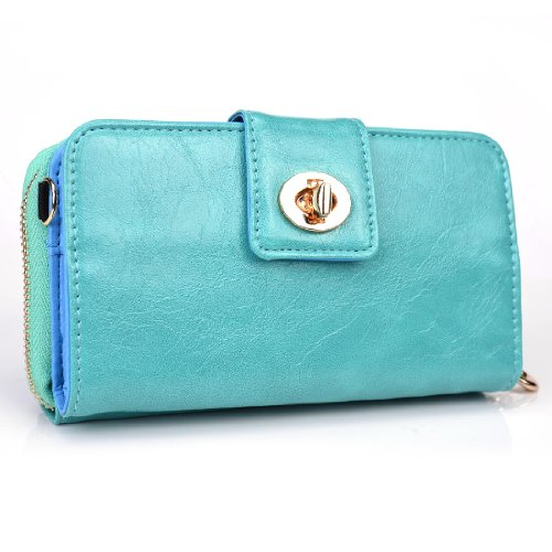 Kroo Magnetic Clutch Wallet For Samsung Galaxy S4 - Carrying Case - Frustration-Free Packaging - Teal