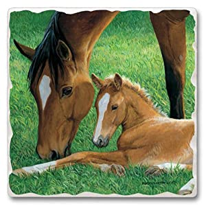 Tumbled tile trivet ~ Horse Scene - Simple Pleasures ~ 7.5 inch square ~ code 887