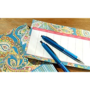 Ana Grace 4-piece Planner Set in Light Blue & Green with Paisley