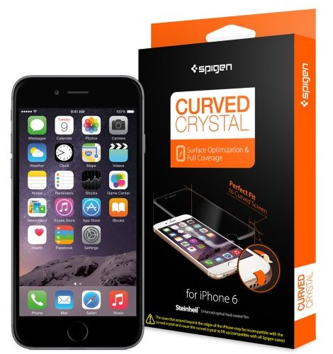 iPhone6 全面液晶保護フィルム, Spigen® iPhone 6 4.7 カーブド・クリスタル *Full Coverage* 2枚入 (2015年 モデル) (国内正規品) (カーブド・クリスタルSGP11299)