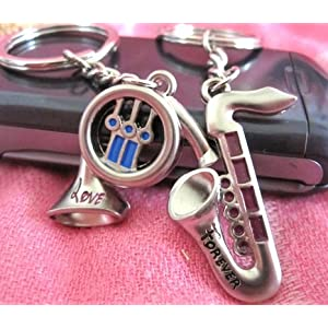 Couple Love Keychain Key Ring Pair of Instruments: Saxphone & Trumpet