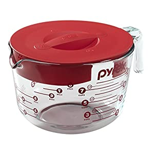 Pyrex Prepware 8-Cup Measuring Cup, Red Plastic Cover, Clear