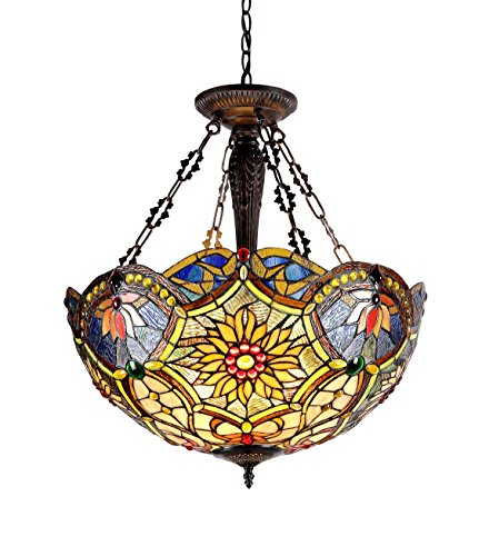 """Burnished Bronze And Tea Stained Alabaster Glass Chandelier//Pendant 21.25/"""""""