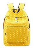 Leegoal Lightweight Casual Polk Dots Daypack Backpack Canvas Bookbag School Bags for Women Girls, Yellow