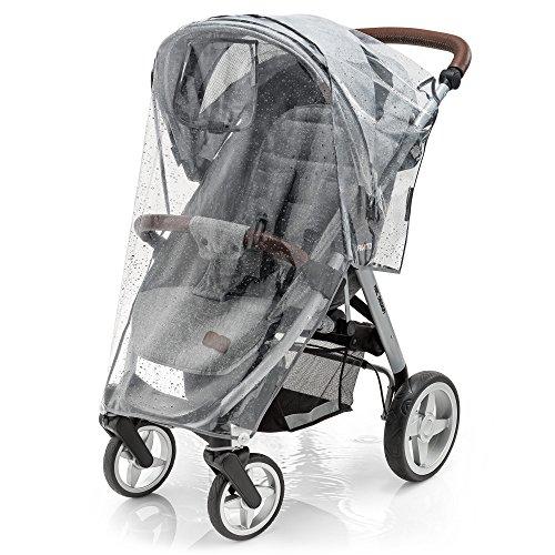 Parapioggia universale comfort per passeggini (p.es. Chicco, Peg Perego, Inglesina) | buona circolazione dell'aria, finestra di contatto, montaggio facile, senza PVC