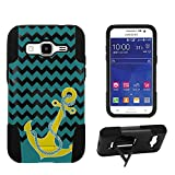 Spots8® Image Design Cases for Samsung Galaxy Core Prime/Prevail LTE G360 , Dual Layer Silcone Bumper  Hard Shell Case with built-in Kickstand with Image of Yellow Anchor on Chevron Design