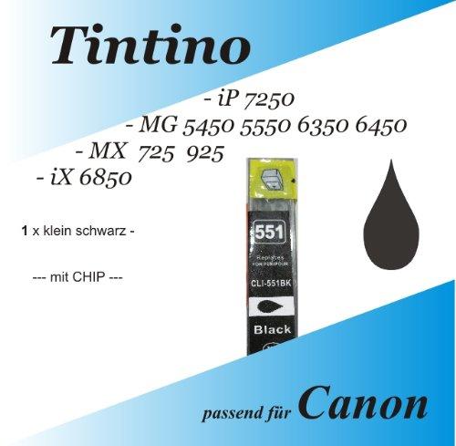 1 kompatible kleine schwarz iP 7250 MG 5450 5550 6350 6450 MX 725 925 iX 6850 - Canon Pixma kompatible Tintenpatronen XL Cli 551 1 x pbk + Chip + Füllstandsanzeige