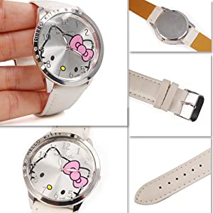 Hello Kitty Large Face Quartz Watch - White Band + Hello Kitty Pouch & Extra Battery