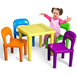 Oxgord Kids Table And Chairs Set Includes 4 Plastic Chairs And 1 Art Craft Study Activity Table