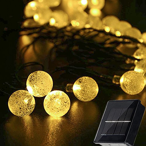 Ecjiuyi Christmas String Lights, Solar Powered Globe String Lights, 21FT 30LED Warm White Waterproof 8 Modes Decorations Light for Bedroom, Seasonal, Holiday, Party, Christmas Tree, Wreath, (Large Bulb String Lights)