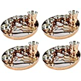 AsiaCraft Service For 4, High Quality Designer Traditional Indian Copper Dinner Set/Thali Set - Diwali Gift Items