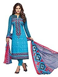 PShopee Sky Blue Karachi Cotton Printed Unstitched Salwar Suit Dress Material