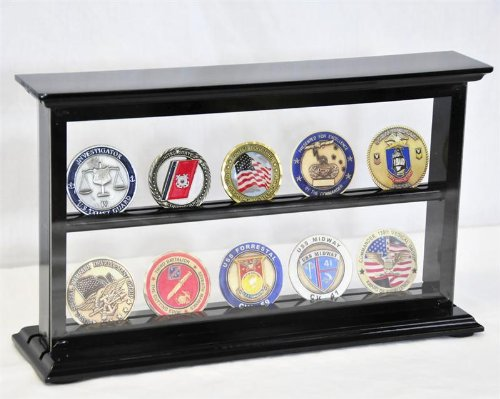 2 Shelves Military Challenge Coin Curio Stand Rack w/ UV Protection Viewing from both side, Black