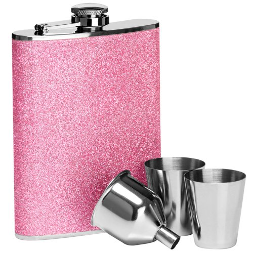 8oz Hip Flask Set With 2 Cups And Funnel Stainless Steel Pink Glitter Colour New