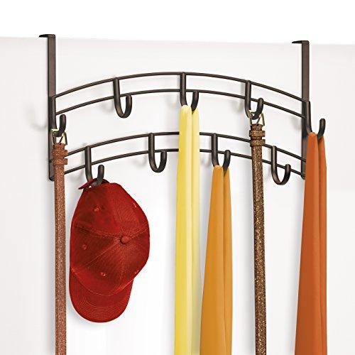Lynk Over Door Accessory Holder - Scarf, Belt, Hat, Jewelry Hanger - 9 Hook Organizer Rack - Bronze (Cap Rack Over The Door compare prices)