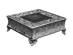"""Silver Wedding Cake Stand Square 16""""x16"""" a Strongly Built Masterpiece for Multilayer Cake"""