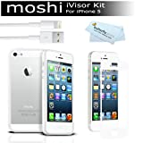 Moshi iVisor AG Screen Protector Protection for iPhone 5 (Anti-Glare) - White + 8 Pin Lightning Data / Sync USB Charge Cable + Photive Hybrid iPhone 5 Bumper Case - White + MicroFiber Cleaning Cloth