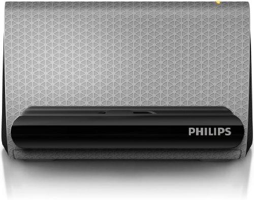 Philips SBA1710/00 tragbarer Stereo Lautsprecher-System (4 Watt, inkl. Halterung für Smartphone, aktiv) schwarz/grau