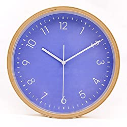 Hippih Silent Wall Clock Wood 8-inches Non Ticking Digital Quiet Sweep Decorative Vintage Wooden Clocks(blue)