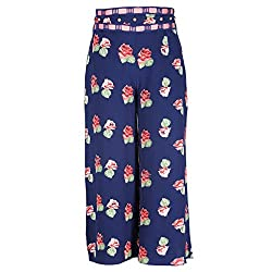 Cutecumber Girls Georgette Floral Navy Palazzo