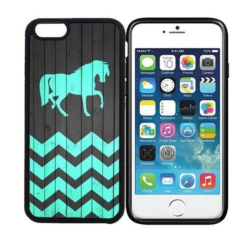 Black Case - Horse - On Wood Teal Zig Zag Pattern Phone Case [Customizable by Buyers] [Create Your Own Phone Case] Slim Fitted Hard Protector Cover for iphone 6 Plus 5.5inch