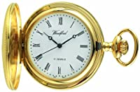 Woodford Mechanical Half-Hunter Pocket Watch, 1056, Men's Gold-Plated Engine-turned Finish  with Chain (Suitable for Engraving)