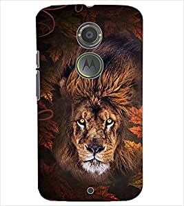 PrintDhaba ANGRY LION D-6181 Back Case Cover for MOTOROLA MOTO X2 (Multi-Coloured)