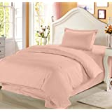 Story@Home 208 TC 100% Cotton Peach 1 Single Bedsheet With 1 Pillow Cover