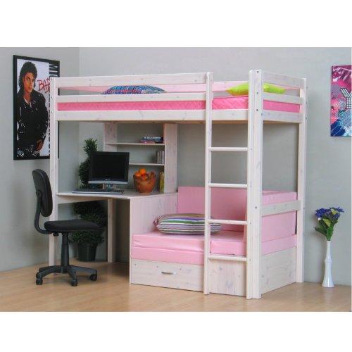 Thuka Hochbett, 90×200 Bett weiss inkl. Matratze rosa und Lattenrost günstig online kaufen