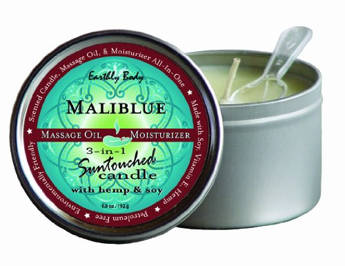 Earthly Body Suntouched Hemp Candle - 6.8 Oz Round Tin Malibue Summer Scent