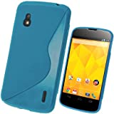 igadgitz Zweiton Blau dauerhafte Kristall TPU Gel Schutzhülle Etui Case Tasche Hülle für LG Google Nexus 4 E960 Android Smartphone + Displayschutzfolie