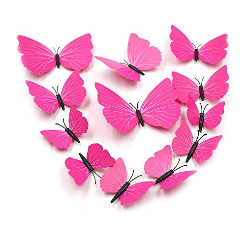 Great Deal(TM) 3D Butterfly Wall Stickers Art Deco Decals, Rose Strip, Pack of 1