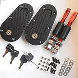 Racing Plus Flush Hood Mount Bonnet Latch Pin Key Locking Kit Black Carbon Fiber